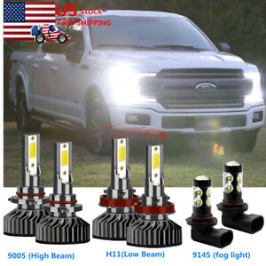 For 2015 2019 Ford F 150 Led Front Headlight High Low Beam fog Light Bulbs Combo