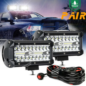 2x 7 inch 240w Led Light Bar Spot Flood Pods Lights Off road Truck 4wd 12v Wire