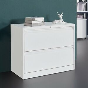 Office Lateral Cabinet File Cabinet W lock 2 Drawers Anti tilt Structure Metal
