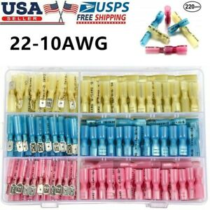 220x Heat Shrink Male Female Spade Electrical Wire Connectors Terminal Set Kit