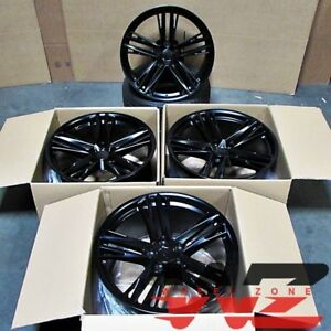 20 Satin Black Staggered Wheels Rims 2018 Zl1 1le Style Fits Chevrolet Camaro