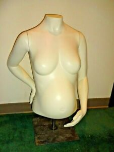 White Life Sized Female Maternity Pregnant Mannequin Torso W Arms Stand 29