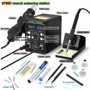 2 In 1 Rework Soldering Station Kit W heating Core Lcd Smd Hot Air Gun 480 700w