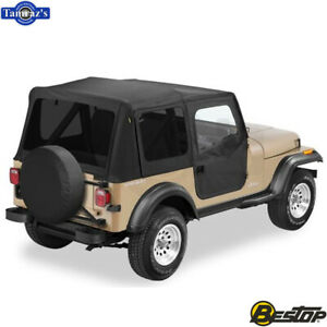 1988 1995 Jeep Wrangler Replace a top Fabric only Soft Top Black Denim