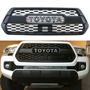 Front Grille Bumper Hood Matte Black Grill With Letters Fit For Tacoma 2016 2019