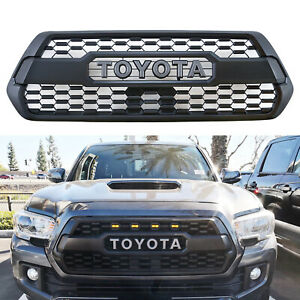 Front Grille Bumper Hood Matte Black Grill With 3 Amber Led For 2016 2019 Tacoma