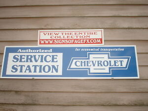 C early 1930s 40s Chevrolet Classic Auto Dealer service Ad sign Garageart 1 x46