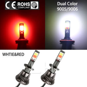 Pair Led Light 9005 9006 Bulb Dual Color Kit For Fog Light Car Cob White Red