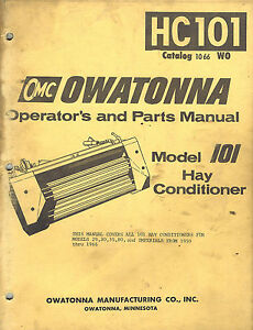 Owatonna 101 Hay Conditioner Parts Operator s Manual 1066