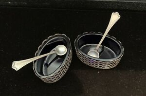 Antique Sterling Silver Cobalt Glass Salt Cellars With Spoons Group Lot Of 2