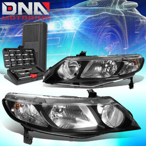 For 2006 2011 Honda Civic 4 dr Black Housing Clear Side Headlight Lamps tools