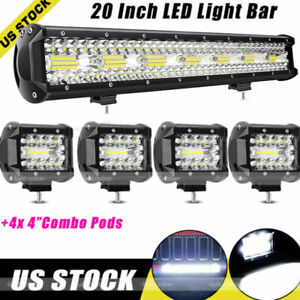 Tri Row 20inch 280w Led Work Light Bar 4 Combo Offroad Driving 4wd Truck 22