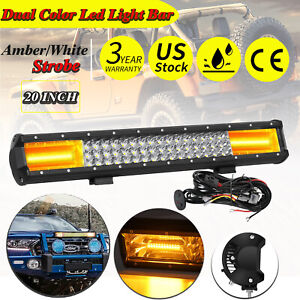 20inch 288w Suv Truck Off Road Car White Amber Strobe Dual Color Led Light Bar