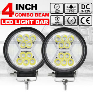 2x 4inch 100w Round Led Work Lights Drl Combo Beam White Offroad Fog Driving 12v