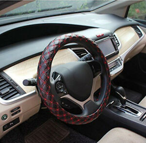 Pu Leather Car Auto Steering Wheel Cover 38cm 15 Black Red Mesh Universal