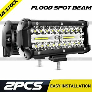 Pair 7 inch Led Light Bar Spot Flood Pods Lights Tractor 4wd 12v Car Off road