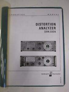 Hp 331a 332a Distortion Analyzer Operating Manual Used