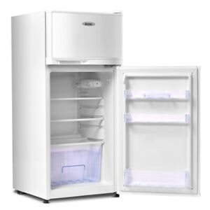 2 Doors 3 4 Cu Ft Unit Stainless Steel Compact Mini Refrigerator white
