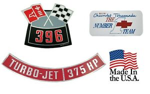 396 375 Chevelle Air Cleaner Decals Valve Cover Decal Set Made In The Usa