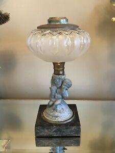 Antique Figural Oil Lamp Cherub Dog Sheep Clear Glass Font Metal Base