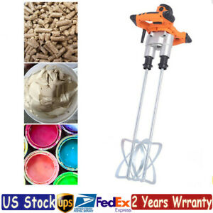 Electric Mortar Mixer Handheld Double Paddle Paint Cement Grout Mixer 220mm Us