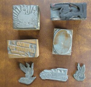Lot Of 7 Vtg Printer s Blocks Letterpress Printing Metal Plates Advertising