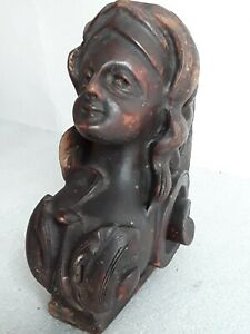 Antique Carved Wooden Lady Bust Salvaged Vintage Architectural Woman Face