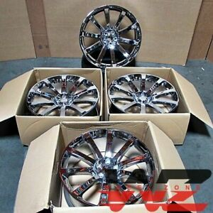22x9 Sr8 Style Full Chrome Wheels Fits Dodge Charger Challenger Magnum Rims Set