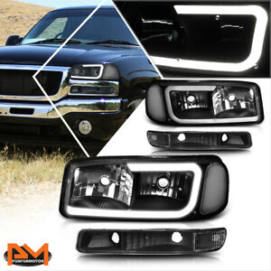 For 99 07 Gmc Sierra Yukon Xl Led Drl Headlight W Bumper Lamp Black Clear 4pcs
