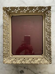 Vintage Mid Century Filigree Floral Gold Tone Metal Photo Picture Frame 12 X 10