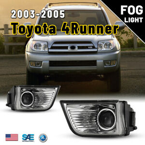 For 2003 2005 Toyota 4runner Fog Lights Projector Replacement Clear Lamps Bulbs