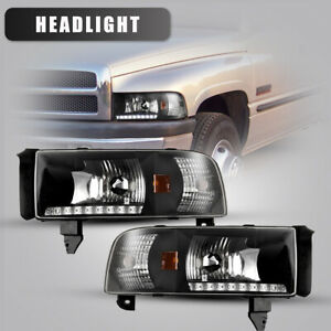 For 94 01 Dodge Ram 1500 2500 3500 Headlights Front Led Drl Lamp Black Clear