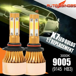 4 Side 9005 Hb3 9145 Led Headlight Bulbs High Beam 3000k Light Foglight Modify