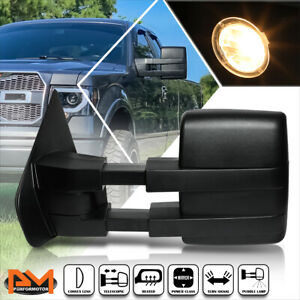 For 04 14 Ford F150 Power heated led Signal puddle Lamp Side Towing Mirror Left
