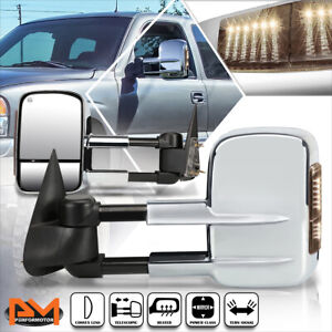 For 99 02 Silverado Sierra Power Heated Chrome Towing Mirror W Smoked Led Lamp