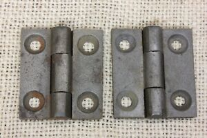 2 Small Old Door Hinges Butt 1 1 2 X 1 1 4 Cast Iron Store Stock Vintage 1857