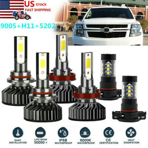6x Combo Led Headlight Bulbs High Low Beam Fog Light For Chevy Tahoe 2015 2019