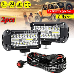 2x 7inch Led Work Light Bar Flood Spot Drl Fog Lamp Offroad Driving Truck Wire