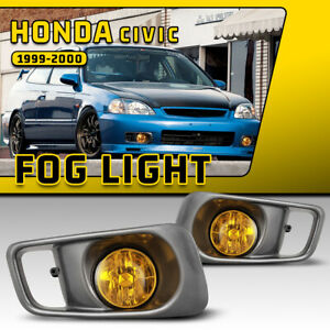 Fits 99 00 Honda Civic Fog Lights Yellow Glass Lens Lamp Wiring Kit Switch Bulbs
