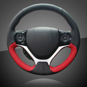 Interior Black Red Leather Car Steering Wheel Covers For Honda Civic 9 2012 2015