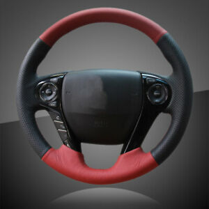 Interior Red Black Leather Car Steering Wheel Covers For Honda Accord 9 Odyssey