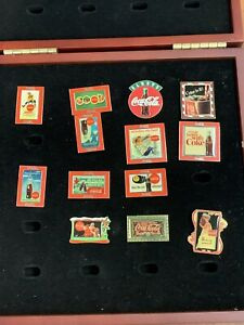 The Coca Cola Pin Collection Lot W/ Wood Case Lot of 13