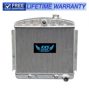 Kks 3 Row Aluminum Radiator For 1955 1956 1957 Chevy Bel Air 6 Cyl Core Supports