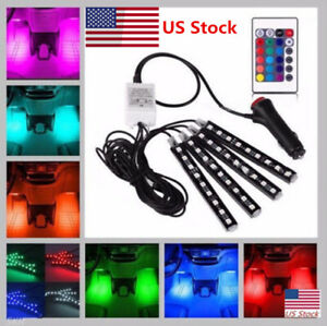 4x Led Rgb Under Car Tube Glow Underglow Underbody System Neon Strip Lights Kit