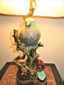 19th C Large Antique Japanese Meiji Period Kutani Porcelain Statue Bird Lamp