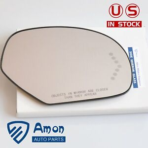 Passenger Side Mirror Glass Turn Signal 7 Led For Cadillac Chevy Gmc Pickup Suv