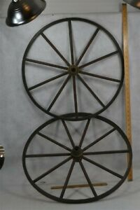Old Early Wheels Pr Wooden Hand Made Cart Wagon Buggy 23 In 19th C 1800