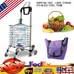 8 Wheels Foldable Shopping Cart Stainless Steel Frame Large Capacity Storage