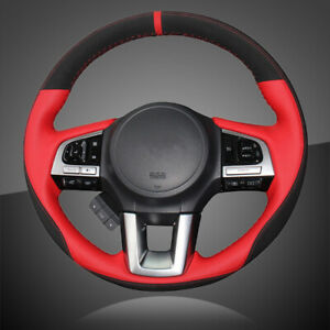 Hand Sewing Black Red Leather Car Steering Cover For Subaru Legacy 2016 Outback