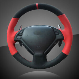 Hand Sewing Black Red Leather Car Steering Cover For Infiniti G25 G35 G37 Ex35